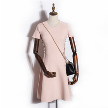 The latest ladies dress cutting blank knitted fabric dress