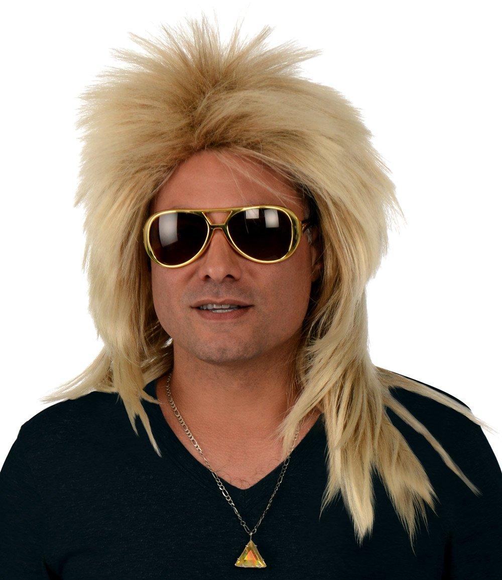 Kangaroo Costume Wigs; Long 80s Rocker Wig, Dirty Blonde Wig