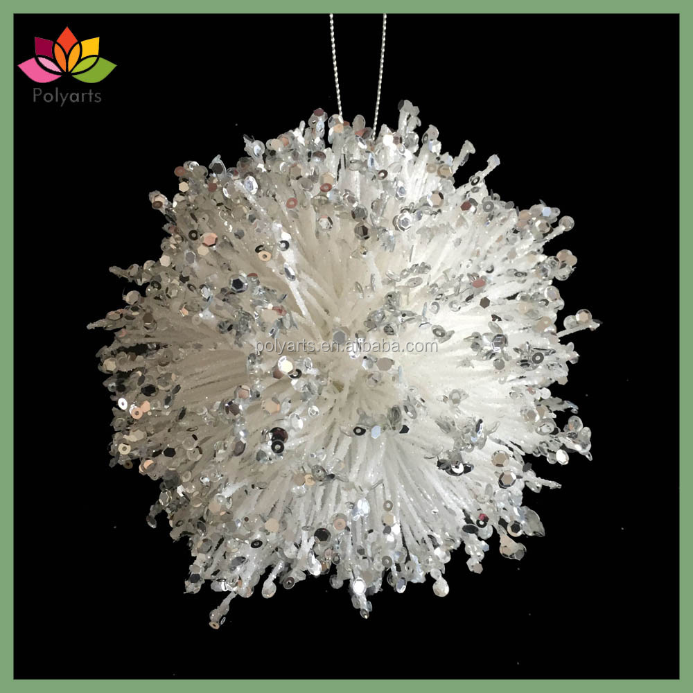 "5"" Glitter Beaded Sequin Foam Ball Hanging Ornament Christmas ball"