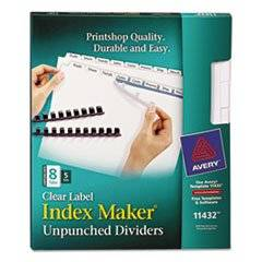 Index Maker Clear Label Unpunched Divider, 8-Tab, Letter, White, 5 Sets By: Avery