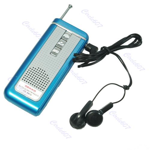 hot blue portable belt clip auto scan fm radio receiver. Black Bedroom Furniture Sets. Home Design Ideas
