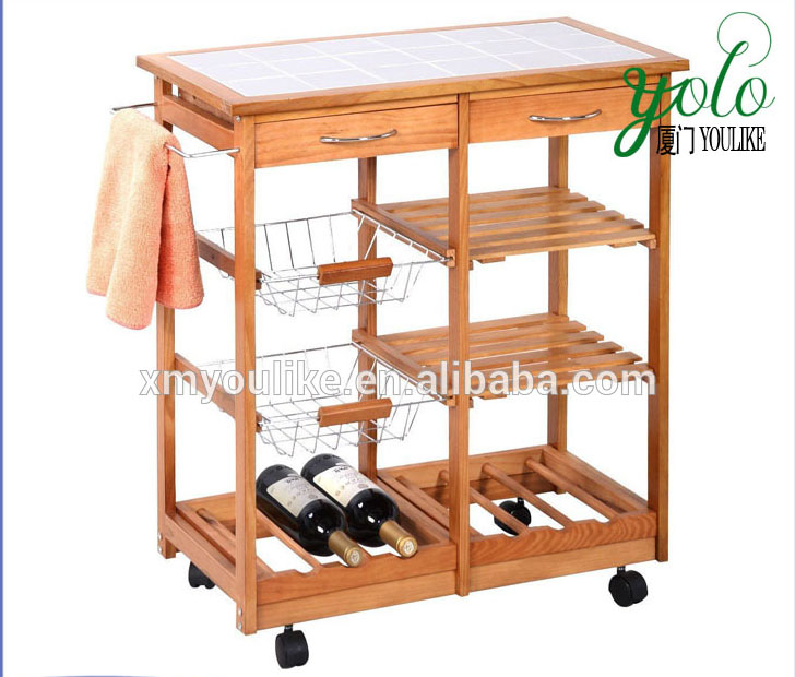 Bamboo Kitchen Trolley Cart Dining Storage Drawers Stand Countertop