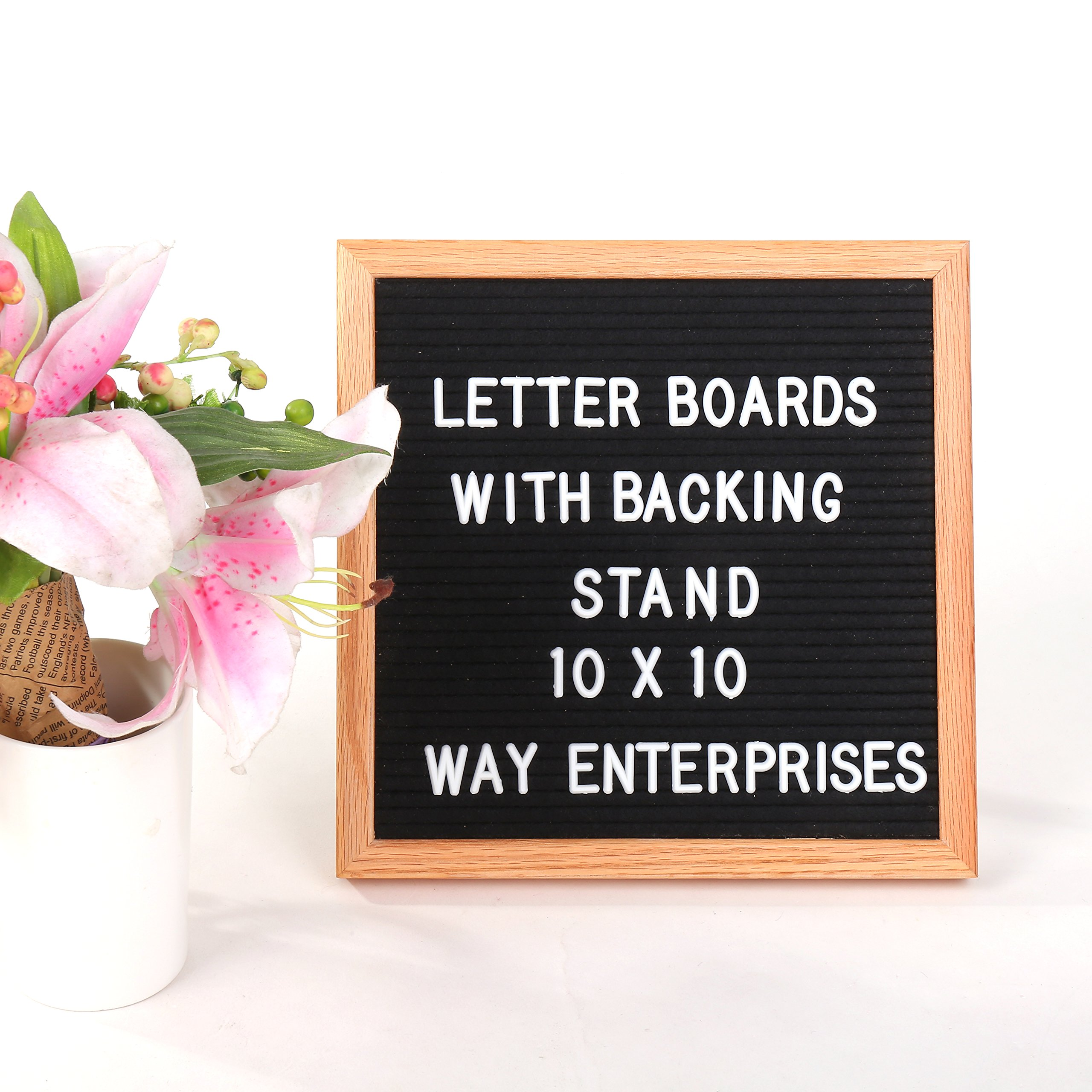 Letter Board with Black Felt & Changeable Letters – Vintage Oak Board w/ Back Stand, Hanger & 300 3/4in Letter Tiles, Including Numbers & Special Characters for Home Decoration by WAY Enterprises, LLC