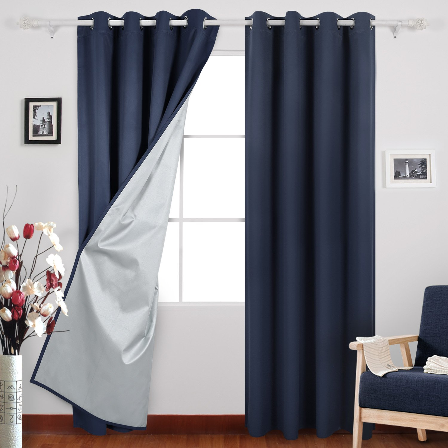 Get quotations · deconovo navy blue thermal insulated blackout curtains grommet curtains with silver coating for kids bedroom 52