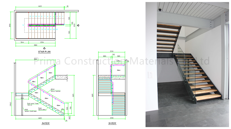 Single Stringer Modular Stainless Steel Glass Staircase With Crashed Glass  - Buy Stainless Steel Glass Staircase,Industrial Steel Staircase,Steel