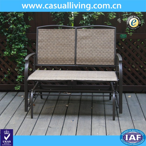 2-seater cast aluminum rocking chair loveseat glider bench in sling fabric seat& back for patio/outdoor garden bench