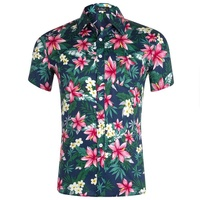 100 cotton flower printed mens summer floral male beach shirts casual wholesale in china