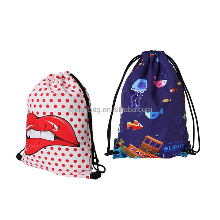 Custom newest colorful drawstring sport backpack 210D nylon polyester drawstring back pack