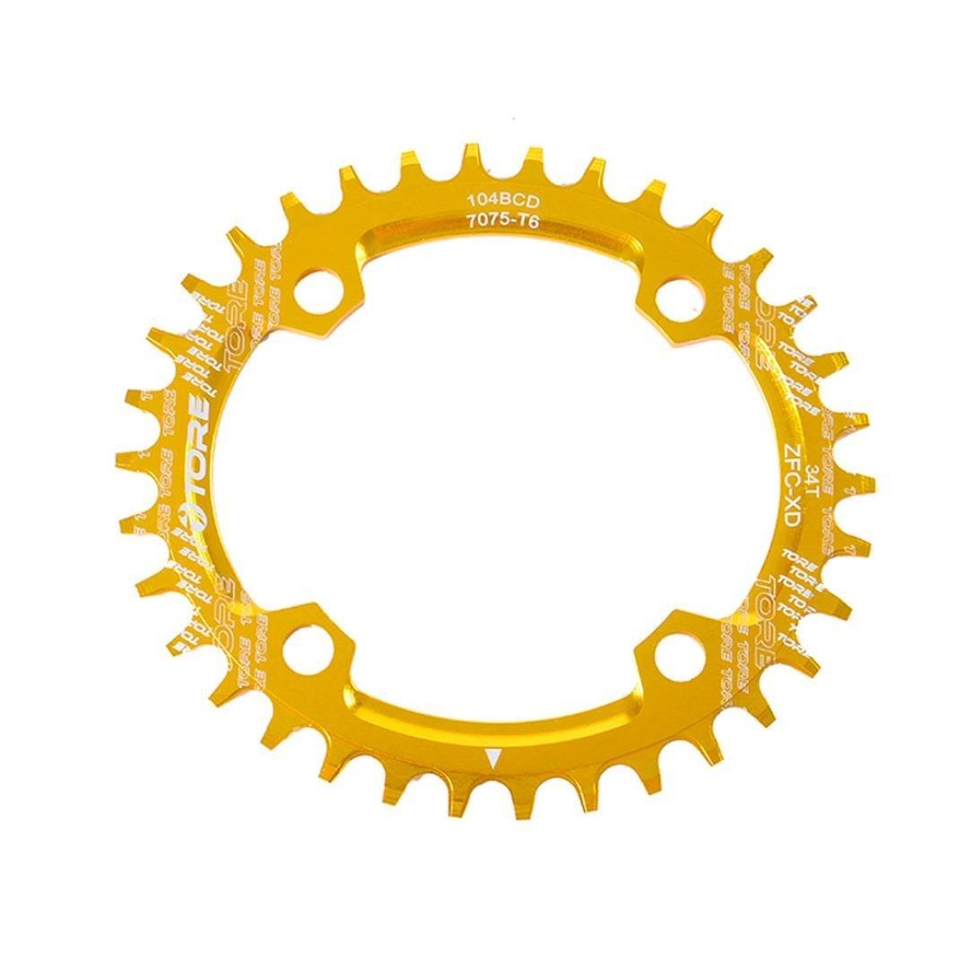 Binmer(TM) 104BCD 36T Ultralight Alloy Bike Bicycle Chainring Oval Round Chainwheel (Yellow)