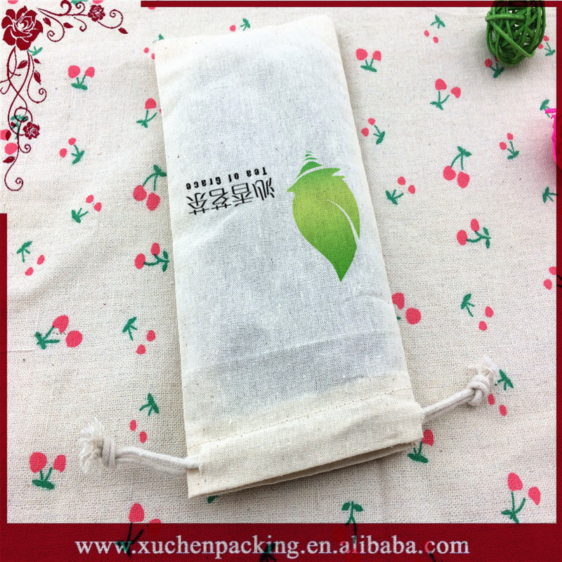 Cheap Plain Custom Logo Draw String Natural Cotton Mobile Phone Pouch Wholesale