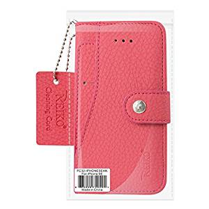 Reiko Credit Card Wallet Case With Slide Out Pocket & Fold Stand for iPhone 5/5S/SE - Hot Pink