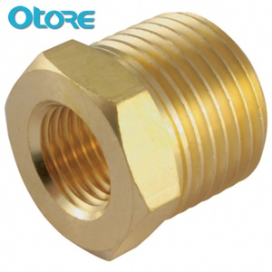 "Otore 1/2""X3/4"" Brass/Bronze Hex Reducer Bushing Fitting With NPT Thread"