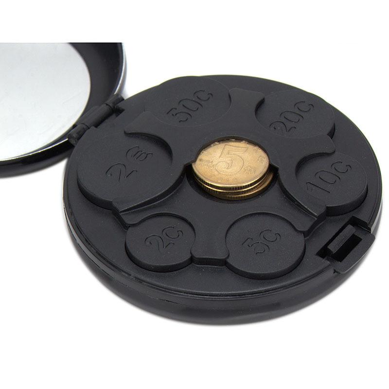 Евро доллар для хранения монет Notecase круглой формы сплава abs монеты держатель портативный мини выдачи чехол с зеркалом MU872132