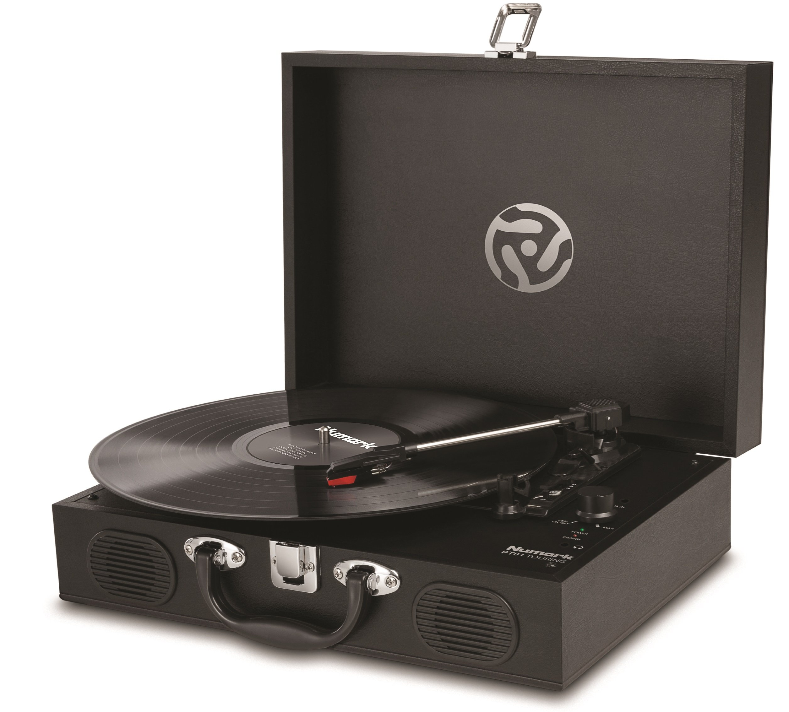 Numark PT01 Touring   Classically-styled Suitcase Turntable with USB Port, and Built-In Speakers & Rechargeable Battery