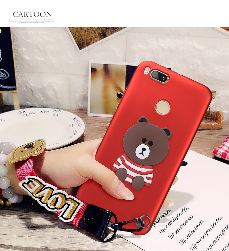 Nkobee For Xiaomi Mi A1 Case Cover 5x Cute 3d Bear Wrist Red Animal Strap Silicon Mi5x Mia1 Phone