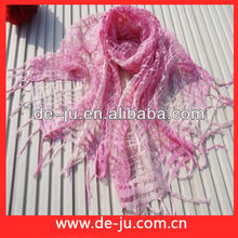 Fashion Neckties Soft Sweety Colour Silk Scarf With Fringe