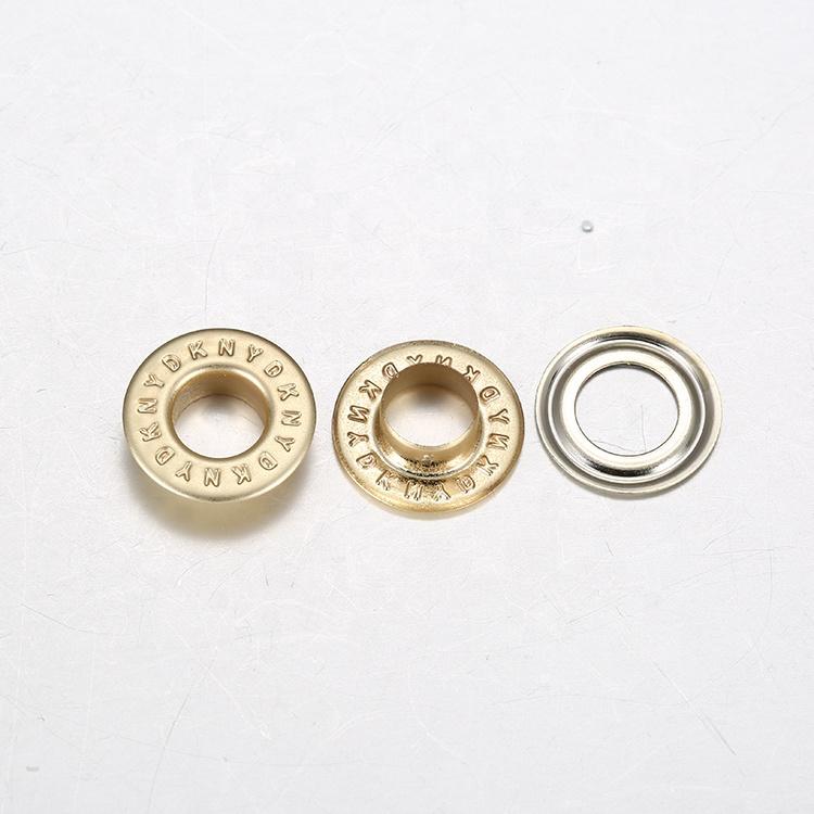 China Custom Embossed Logo Round Metal Ring Brass Eyelet For Shoes Bags