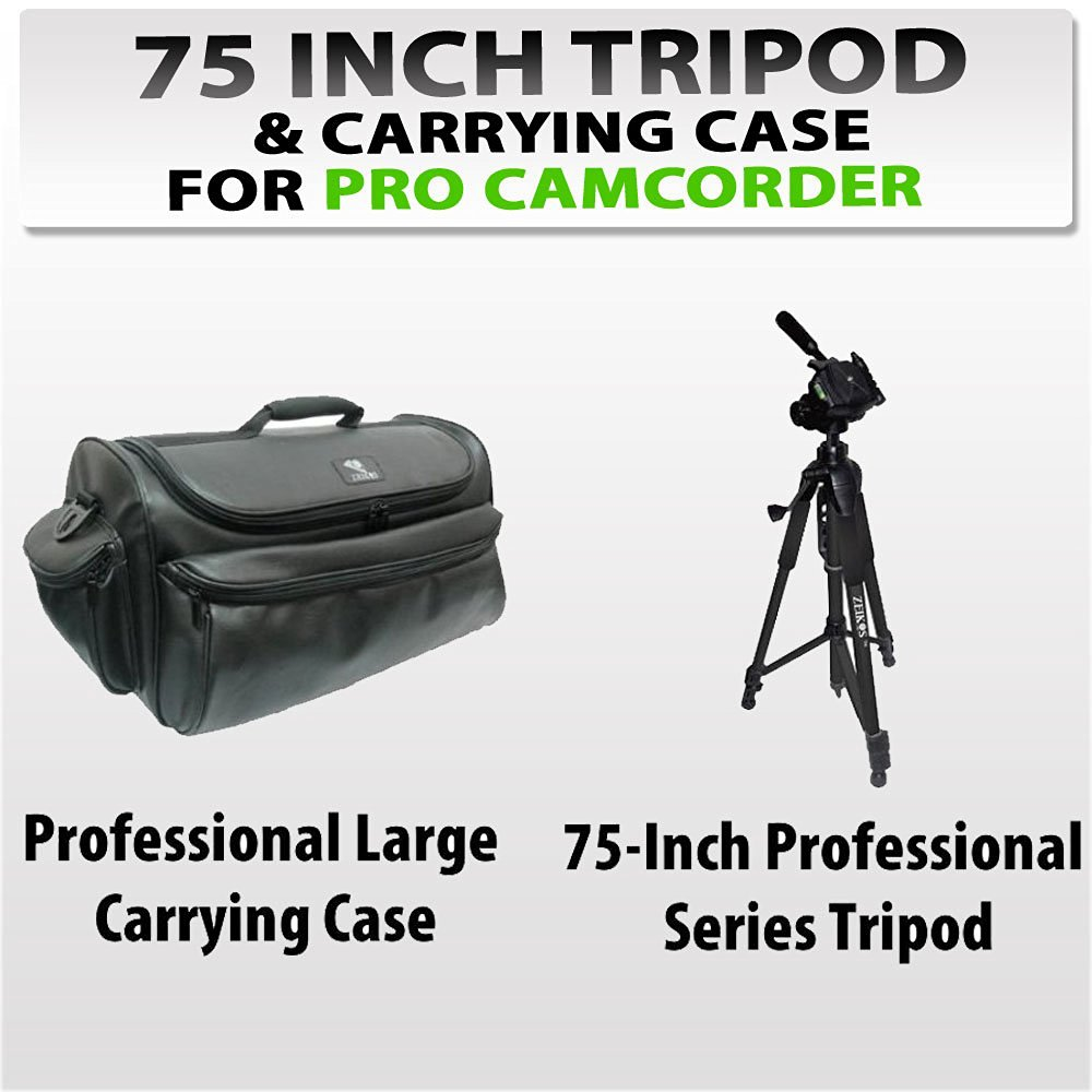 75-inch Professional Series Tripod w/ 3-way Head + Rugged Series Water Resistant, Adjustable Shoulder Strap, Heavy Duty, Shock Proof Pro Camcorder Carrying Case for Sony Pmw-500, Pmw-ex1r, Pmw-ex3, Dsr-450wsl, Dvw-970, Hdw-790 Camcorder
