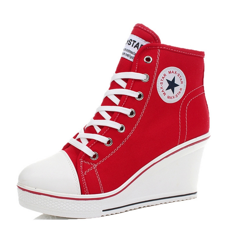 Hightop Red Canvas Tennis Shoes
