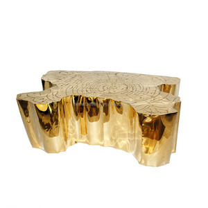 Tree Trunk Style Stainless Steel Coffee Table Modern Living Room Coffee Table