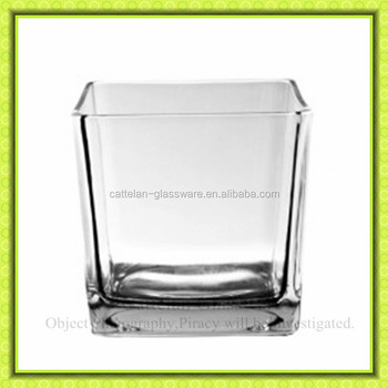 Clear Giant Square Glass Vase For Flower,square Glass Pot Glasscontainer  For Plants