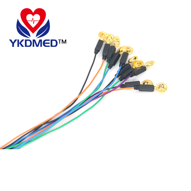 Gold plated eeg cup electrode , DIN1.5 socket, colorful EEG cable
