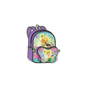 """Birthday Christmas Gift - Disney Tinkerbell Large Backpack with Detachable Lunch Bag and Princess Wallet Set, Backpack Size 16"""""""