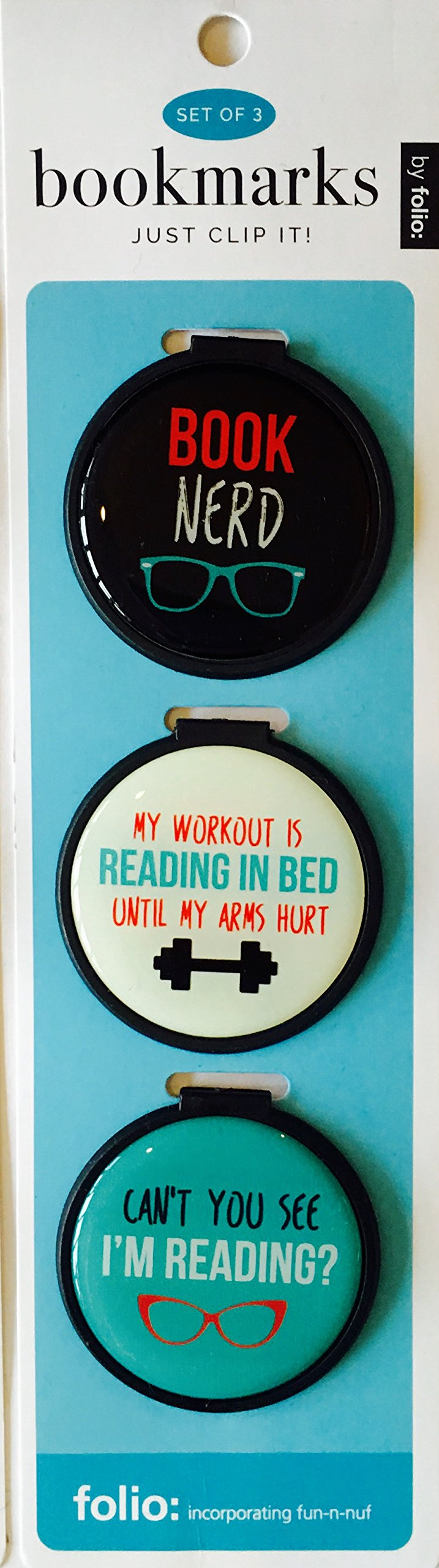 "Just Clip it! Quote Bookmarks - (Set of 3 clip over the page markers) - BOOK NERD, MY WORKOUT is READING IN BED, Can't you see I""M READING."