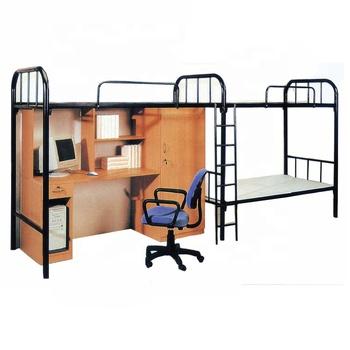 Undergraduate Metal Dorm Apartment Bunk Bed With Wardrobe Computer Desk Iron Loft