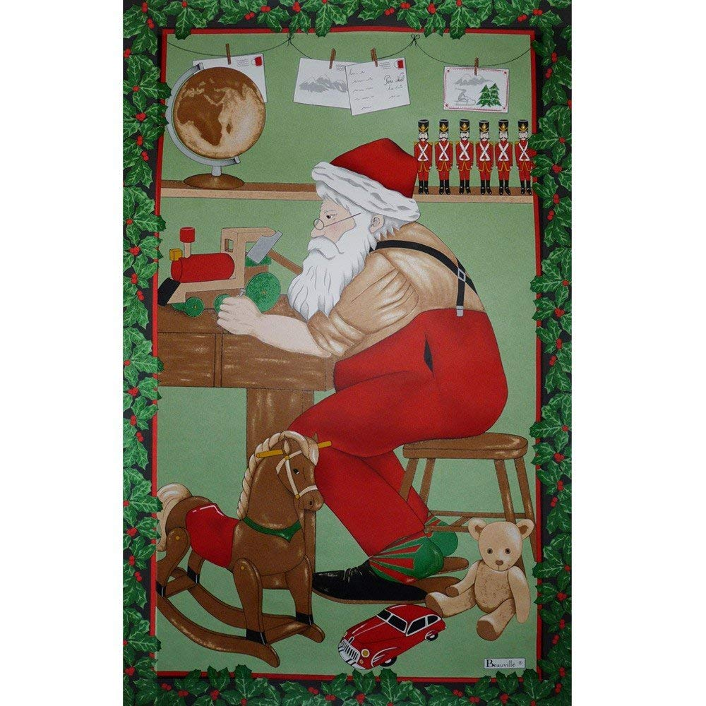 "Beauville France, Atelier Du Pere Noel (Father Christmas's Workshop) French Holiday Kitchen / Tea Towel, Silk Screen Hand Printed, 82% Cotton / 18% Linen, 20"" X 31"", Made in France"