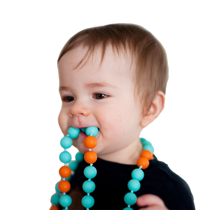 Wholesale BPA free FDA silicone beads jewelry baby teething necklace