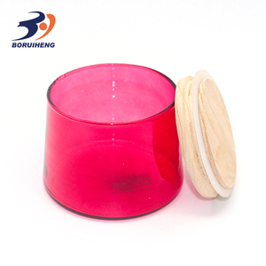 Cheap Glass candle canisters for home decoration colored glass candle holder with wooden lid