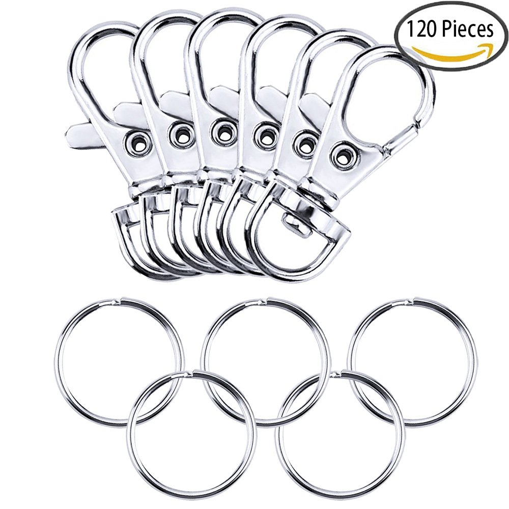 Trasfit 120 Pieces Alloy Swivel Lobster Claw Clasp with Keychain Rings – 60 Pcs Swivel Lanyard Snap Hook, 60 Pcs Key Chain Ring