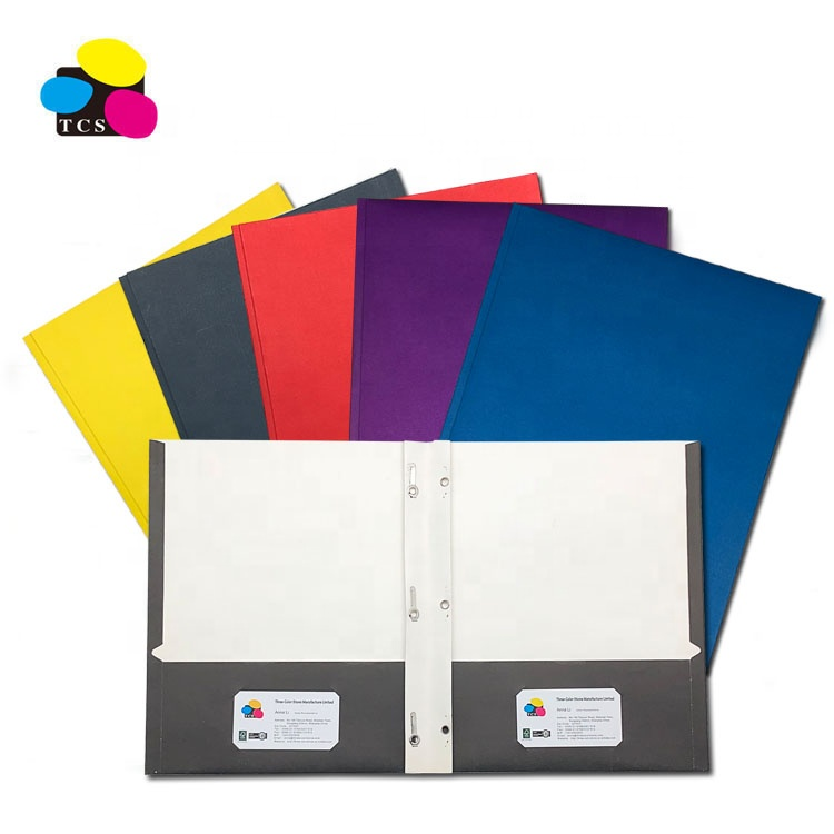 100% Recycled White Paper Two Pockets Portfolio Assorted Color Document File Folders With 3 Prongs
