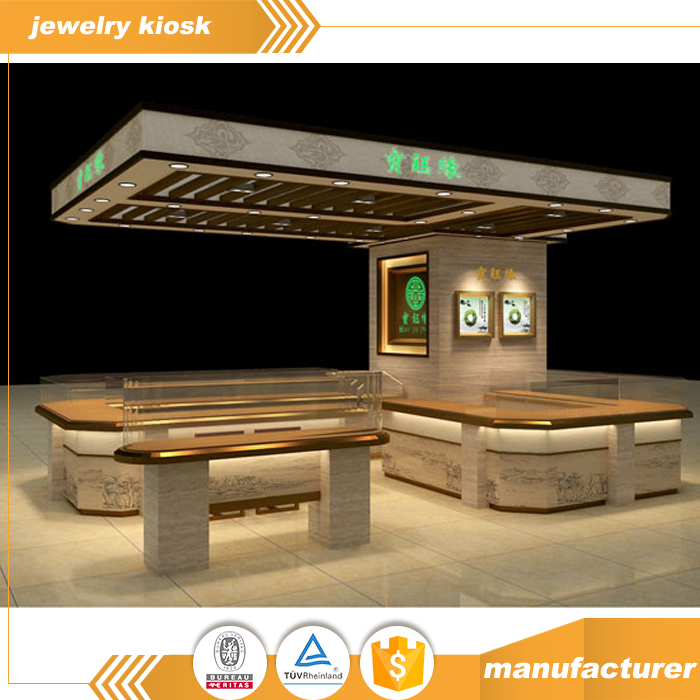 2017 Shopping Center Exquisite Jewelry Jadeite Jade Amber Kiosk Design Fashion Decoration Accessories Display Showcase Layout