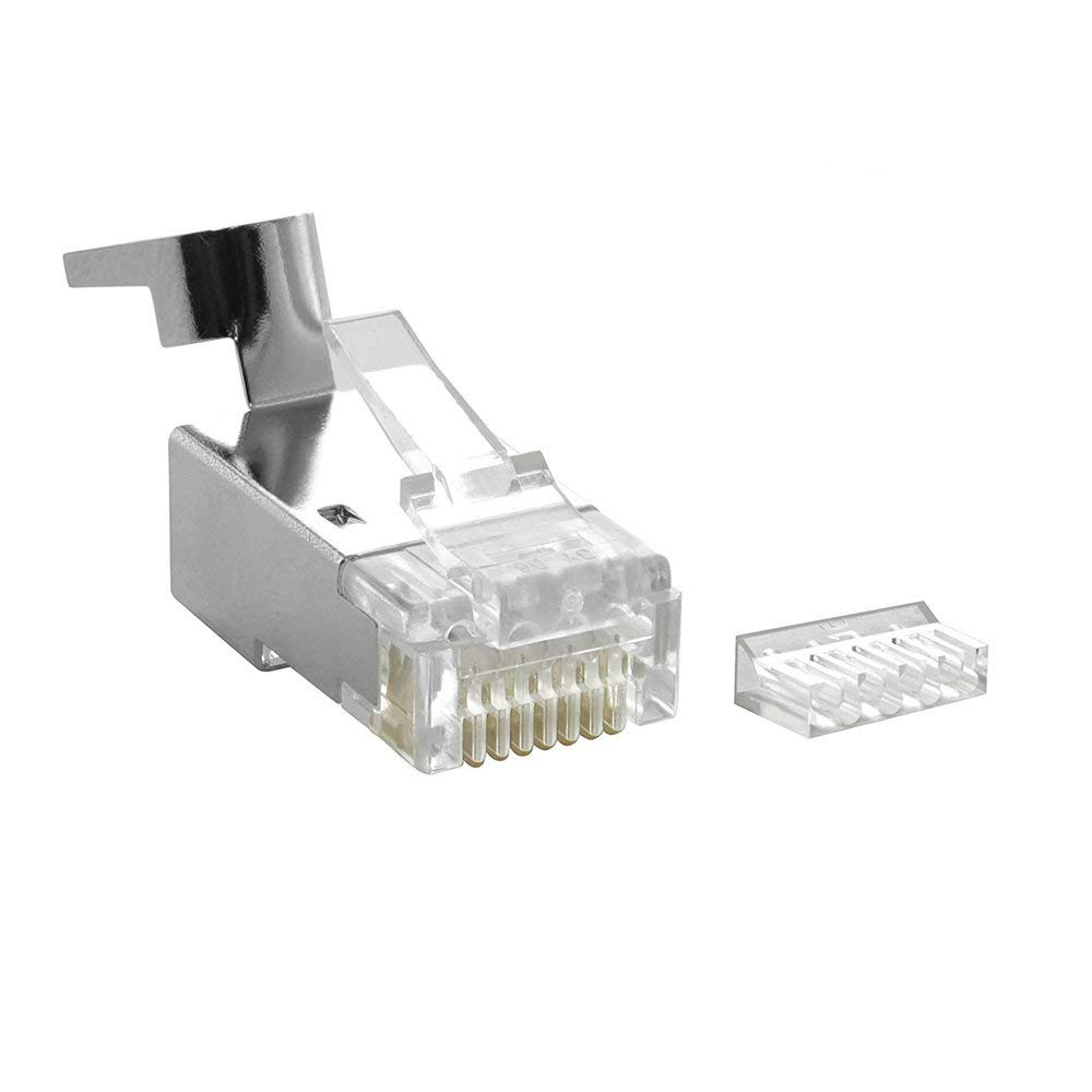 CAT7 Shielded RJ45 Plug 50u Gold-Plated Contacts Modular Connector for Cat6 / Cat6A / Cat7 STP Ethernet Cable 8P8C (50 Pack)