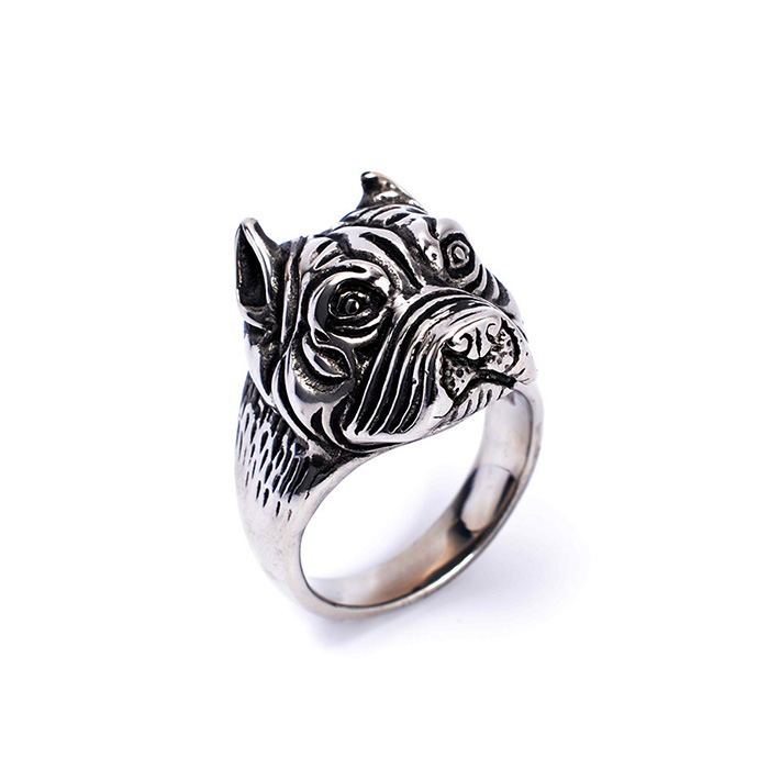 Vintage style stainless steel pekingese shaped unique dog ring