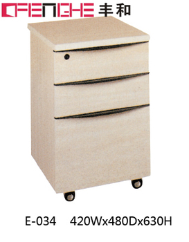 3 Drawer Office Wood Storage Cabinet With Nylon Wheels E