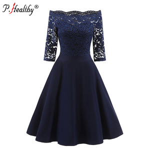 New hot sexy dresses europe and america lady clothing china embroidery a-collar prom lace dress