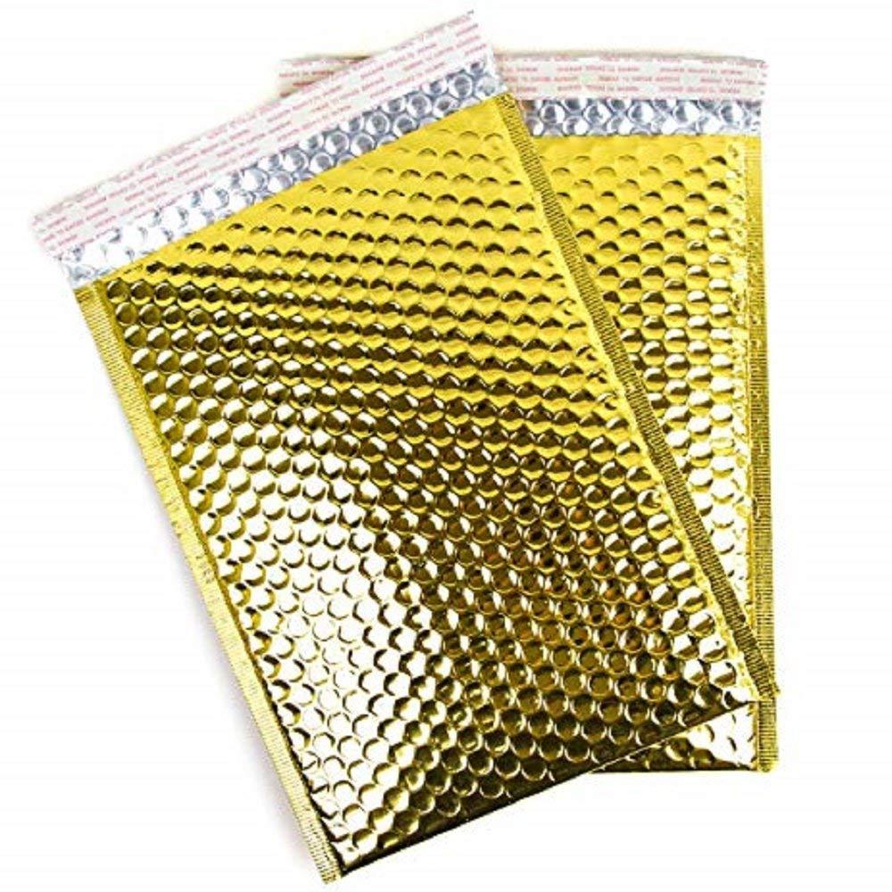 50 Gold Metallic 6x10 Bubble Mailer Self Seal Envelope Padded Mailer DVD