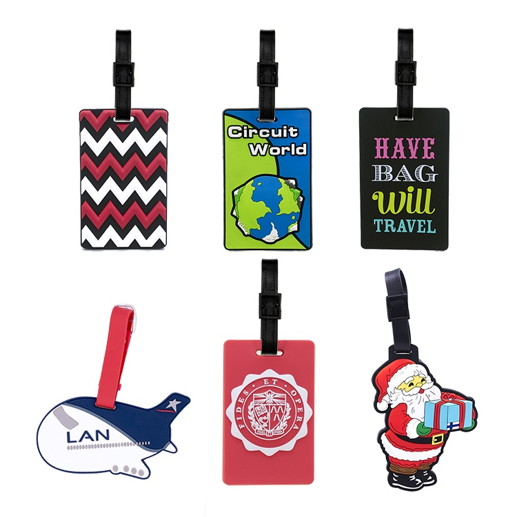 Promotional Custom Logo 3D Travel Soft PVC Luggage Tag, Personalized Rubber Airline Bag Tags