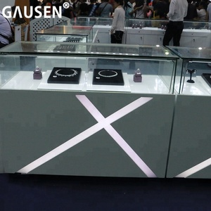 Customized Luxury jewelry shop display counter glass jewelry store showcase