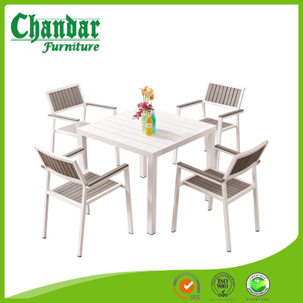 Modern design white powder coated aluminum plastic wood garden table sets outdoor patio dining setsgarden table and chairs set