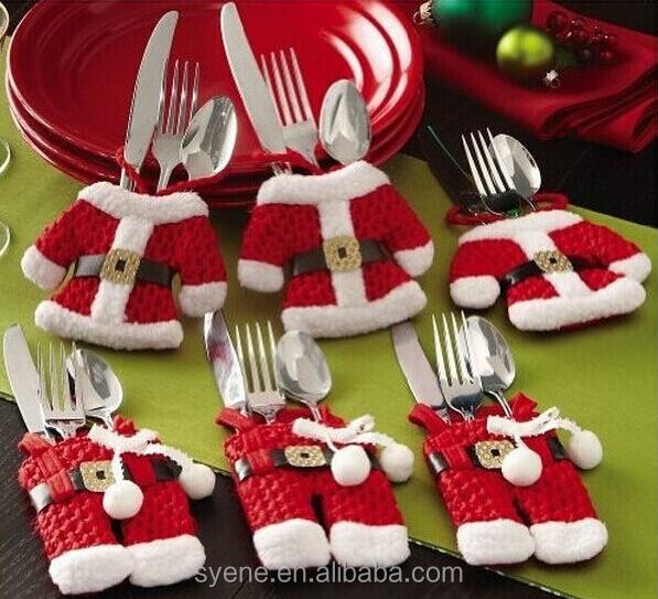 Hot Sale Happy Christmas Tableware Silverware Suit Santa Suit