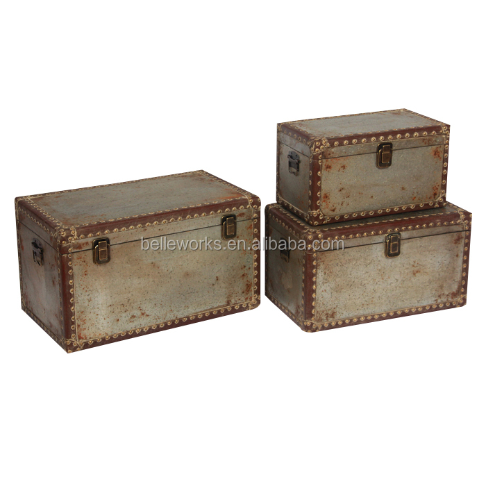 Set 3 Home Goods Trunk In Chinese Rustic Galvanized Metal