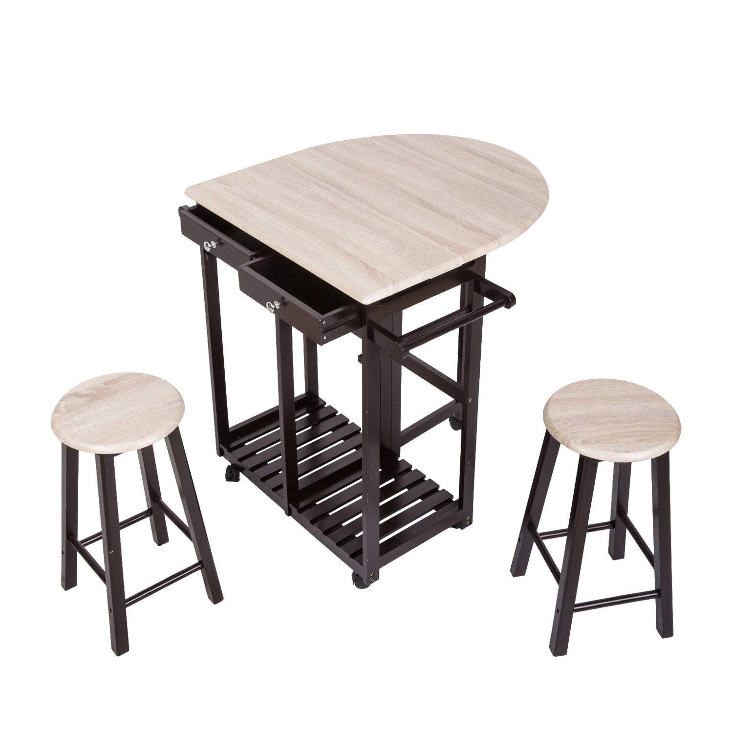 Asher Amada 3 PC Wood Breakfast Nook Dining Set Kitchen Island Rolling Cart Drop Leaf Table