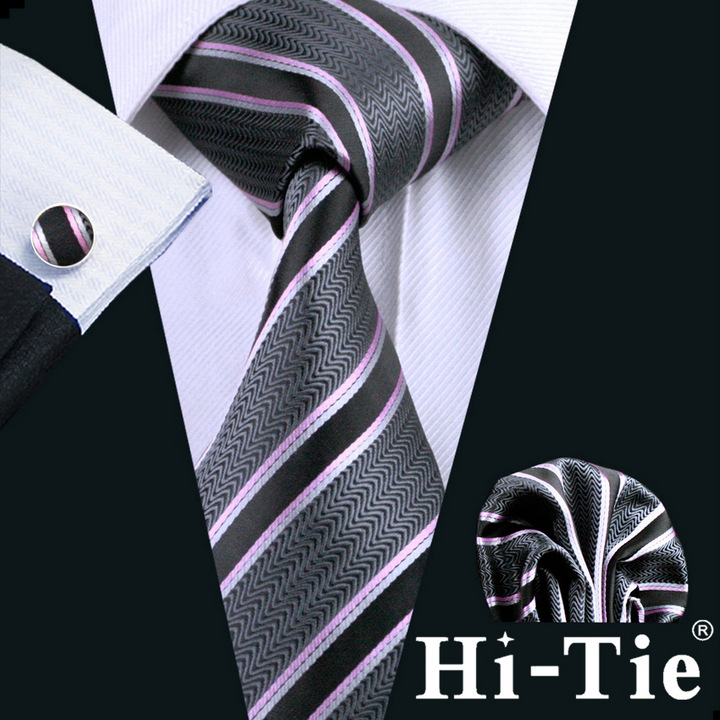 B-0226 Hi-Tie Pink Gray Stripe Mens Ties Necktie Set Silk Tie Set for Men