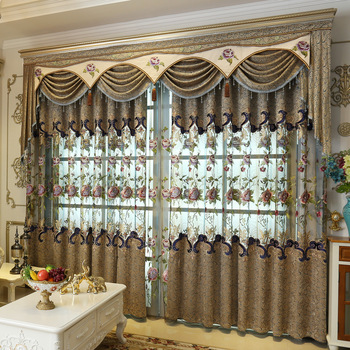 European Home Accessories Embroidered Curtain With Valance,China Luxury Curtains Designs Livingroom Decorativas Fabric#