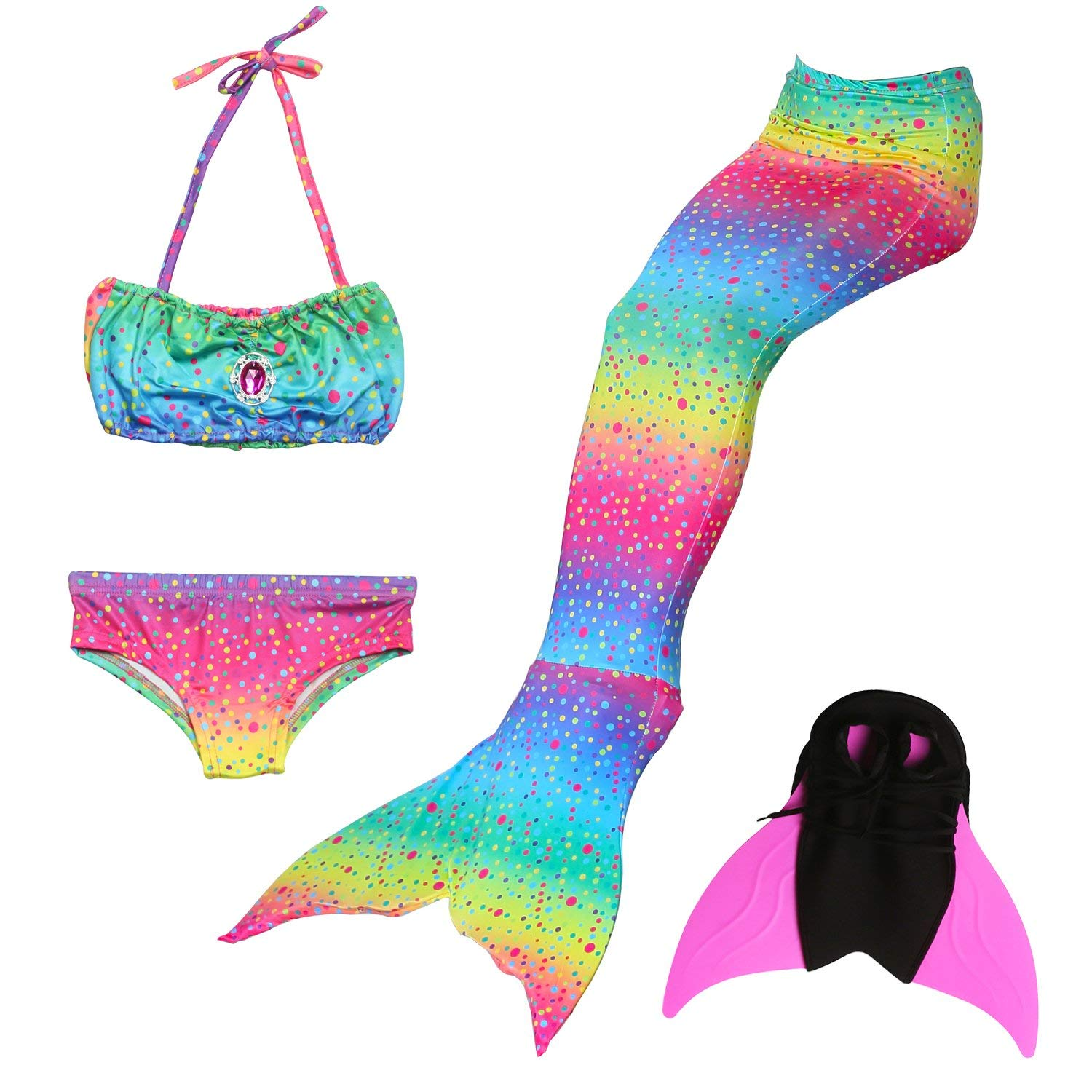 7a64b4fbd4af1 Get Quotations · Das beste Girls Mermaid Tail Swimsuit with Monofin Girl's  Mermaid Tail for Swimming,Colorful Swimmable