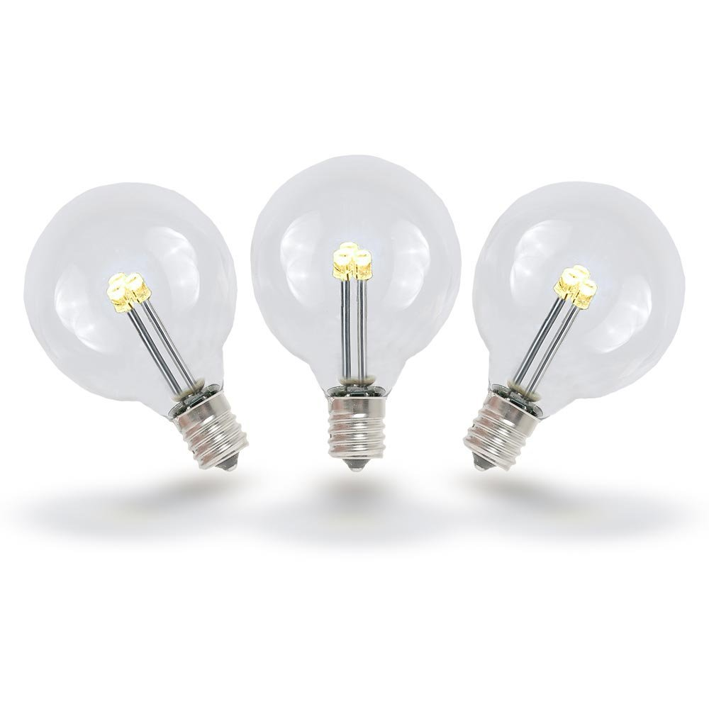 Novelty Lights 25 Pack G40 Led Outdoor String Light Patio Globe Replacement Bulbs Warm White
